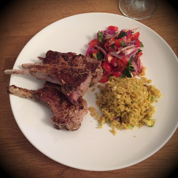 keto ketogenic low carb lamb cutlets recipe with cauliflower couscous and tomato salad
