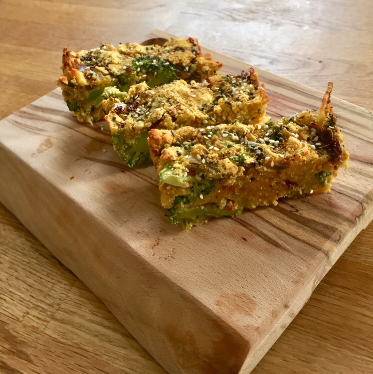 low-carb keto broccoli cake frittata lunch