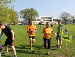 Sprinting home to beat the clock at walthamstow parkrun